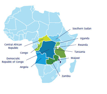A blue geographical view showing the democratic republic of Congo and adjoining countries with conflict minerals.