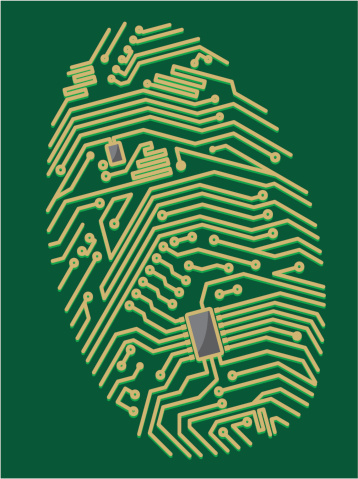 A image of a yellow circuit board in the shape of a fingerprint in a green background.