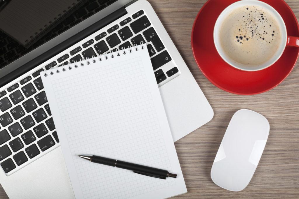 notepad coffee
