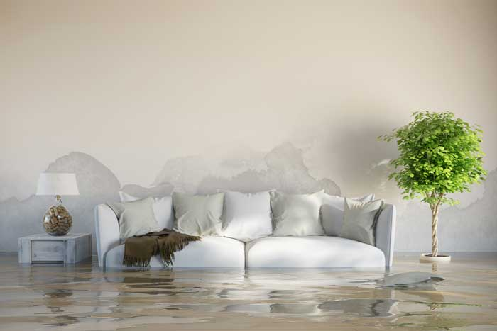 White Sofa in Flooded Room