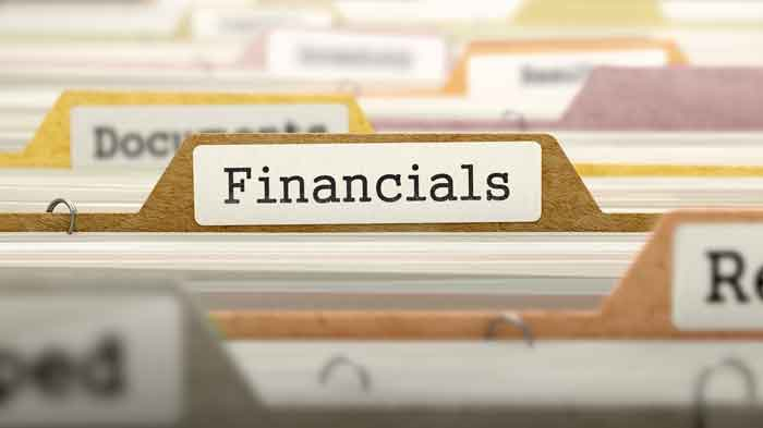 File folder of financials