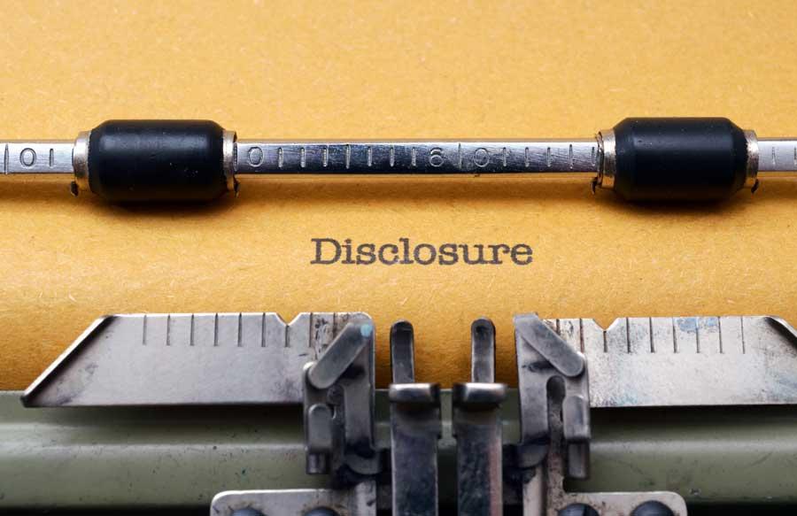 disclosures on typewriter