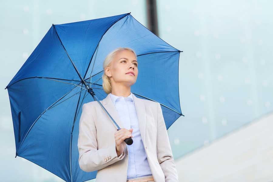 woman blue umbrella