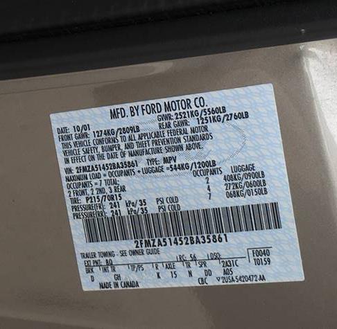 Light Duty Minivan Label