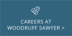 Careers at Woodruff Sawyer with a rocket icon graphic by Woodruff Sawyer.