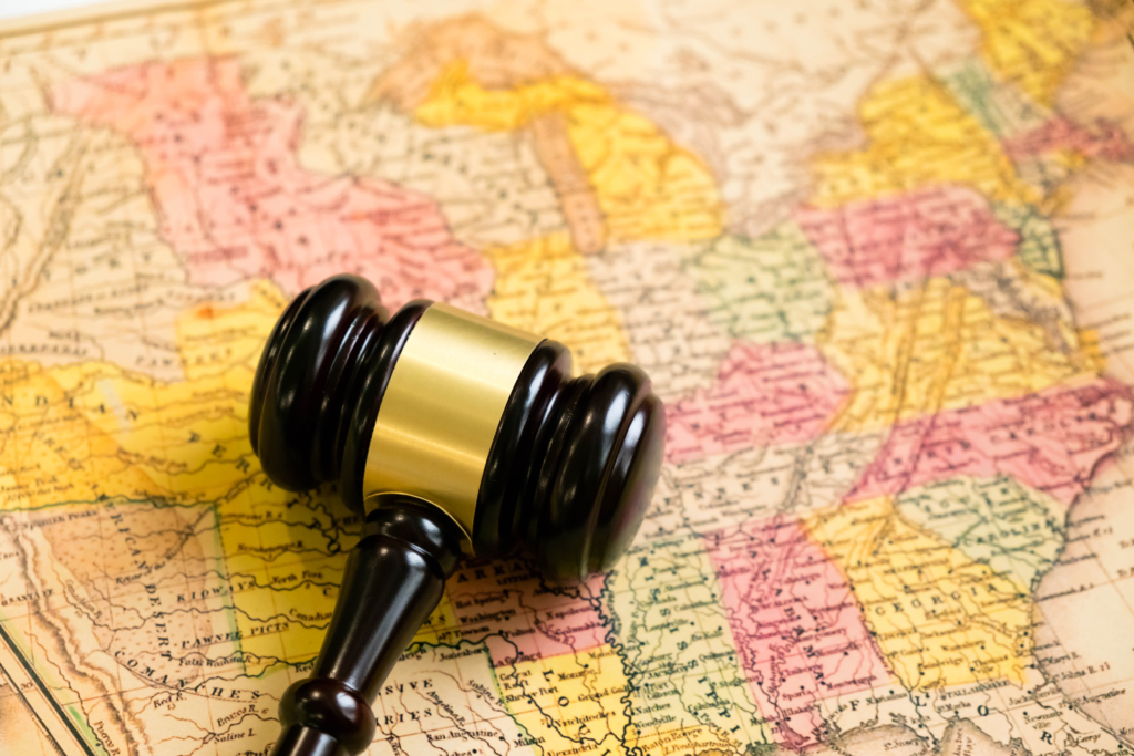 gavel on top of a map of us states
