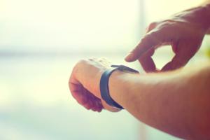 Person wearing a smart watch