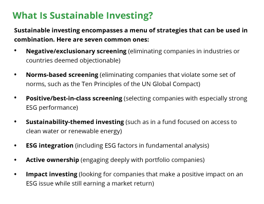 Sustainable investing encompasses a menu of strategies that can be used in combination.