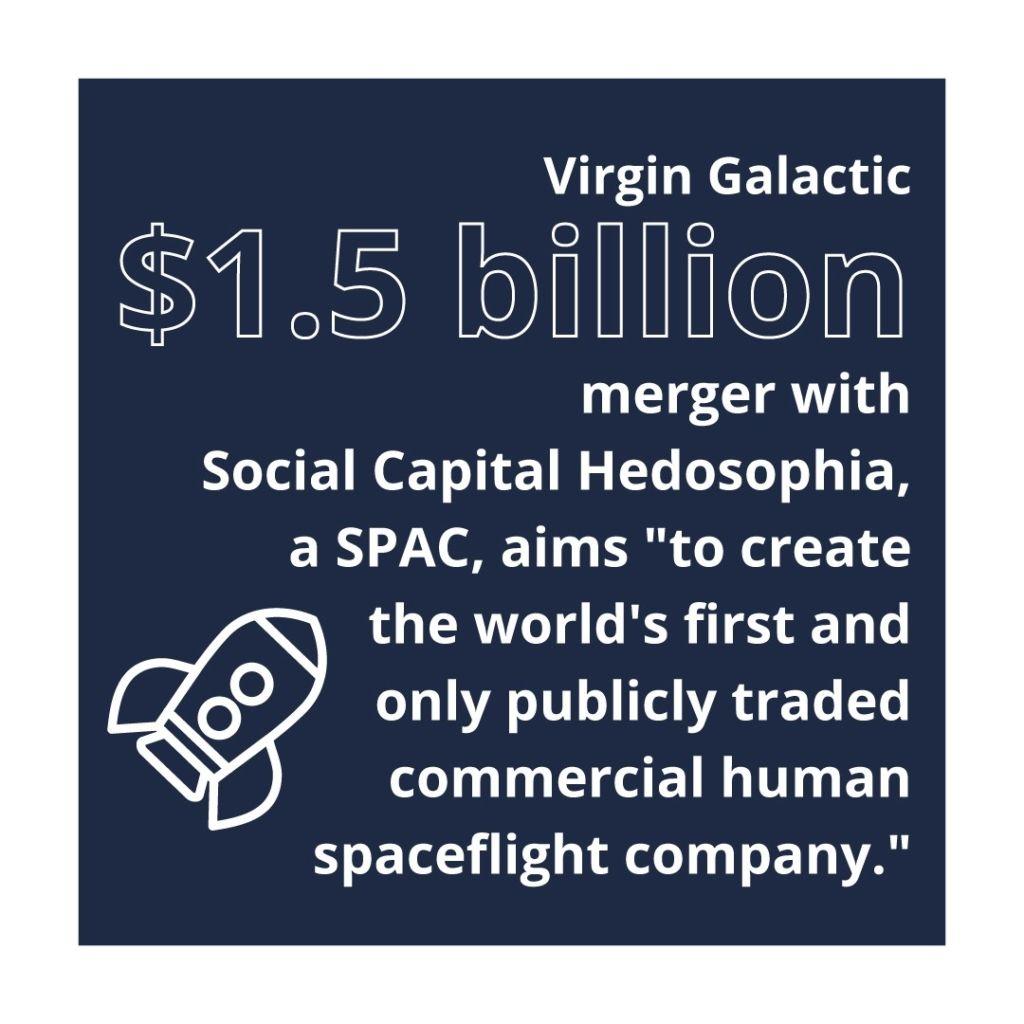 An infographic describing Virgin Galactic's $1.5 billion merger with Social Capital Hedosophia and a rocketship.