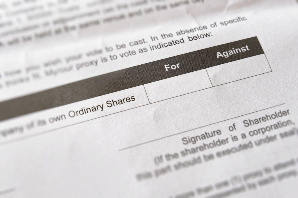Closeup image of shareholder form