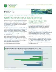 Cover image of Technology Industry Insurance Rates Trend Report 2020 - Rate Reductions continue, but are shrinking