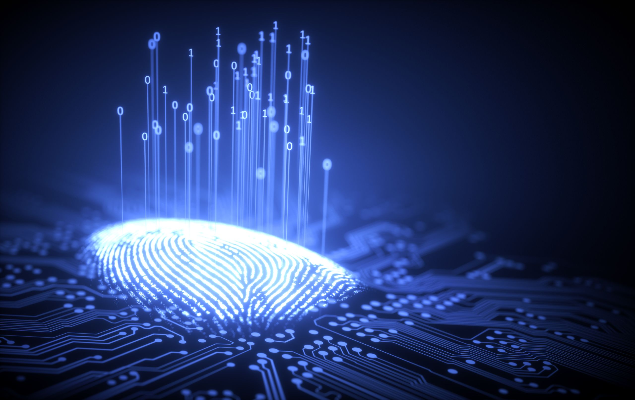 Fingerprint on computer chip illustrating cybersecurity