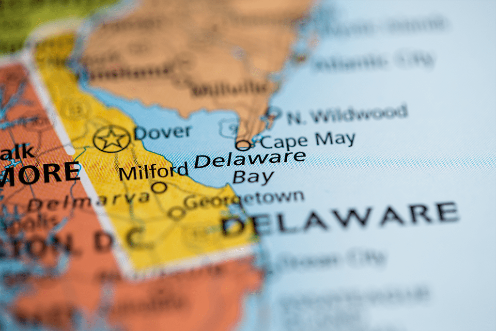 Image of Delaware on a state map