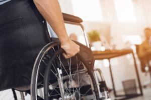 Disabled man wheelchair