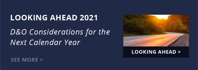 Looking Ahead Guide 2021 - D&O Considerations for the Next Calendar Year. Read Now >