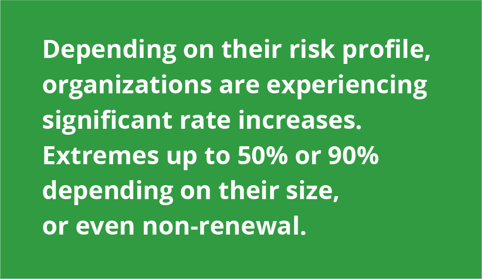 Depending on their risk profile, organizations are experiencing significant rate increases.