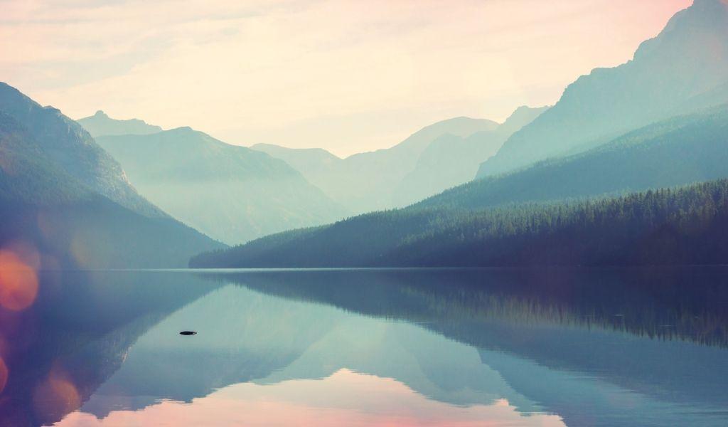 Mountains along lake