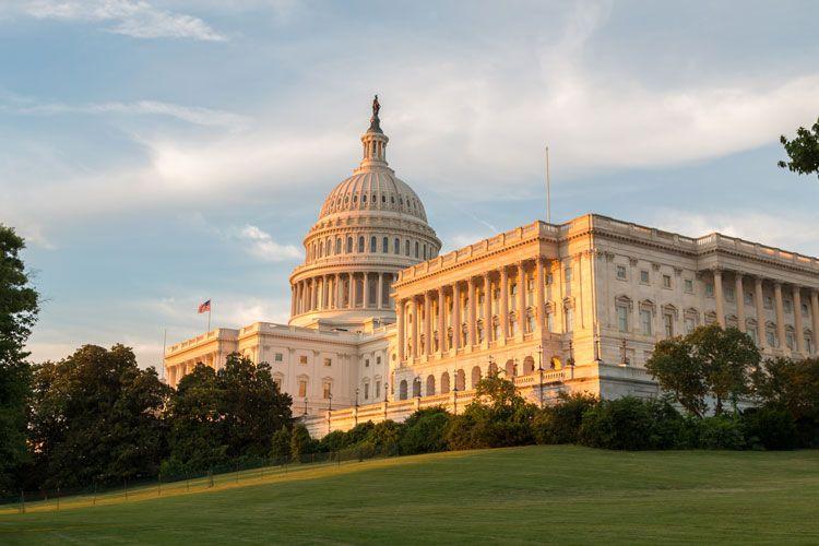 Capitol building lawn sunrise