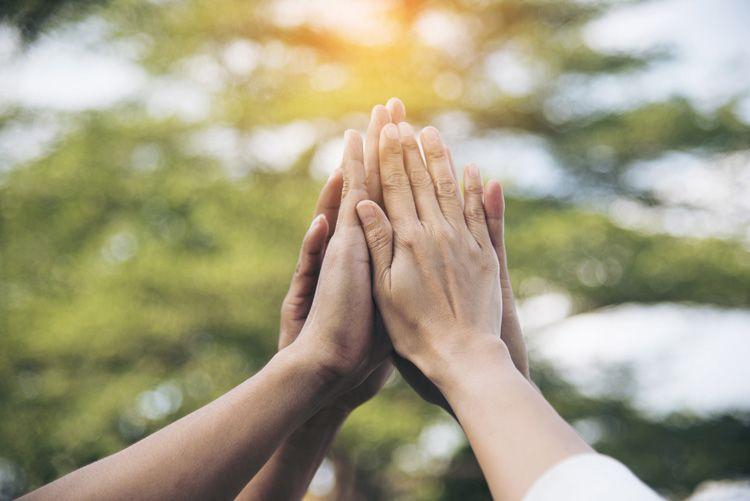 Hands teamwork high five