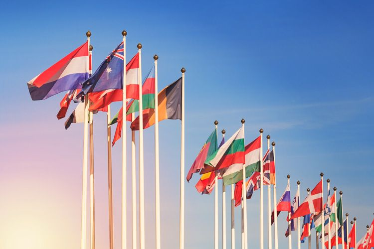International flags sunset