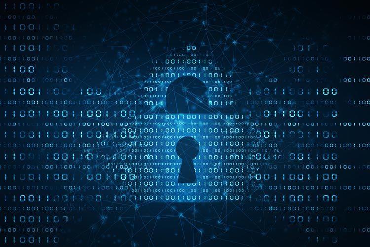 dark blue lock cyber