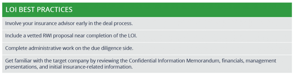A table explaining the LOI's best practices.