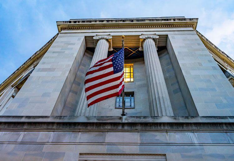 DOJ Facade Building Flag