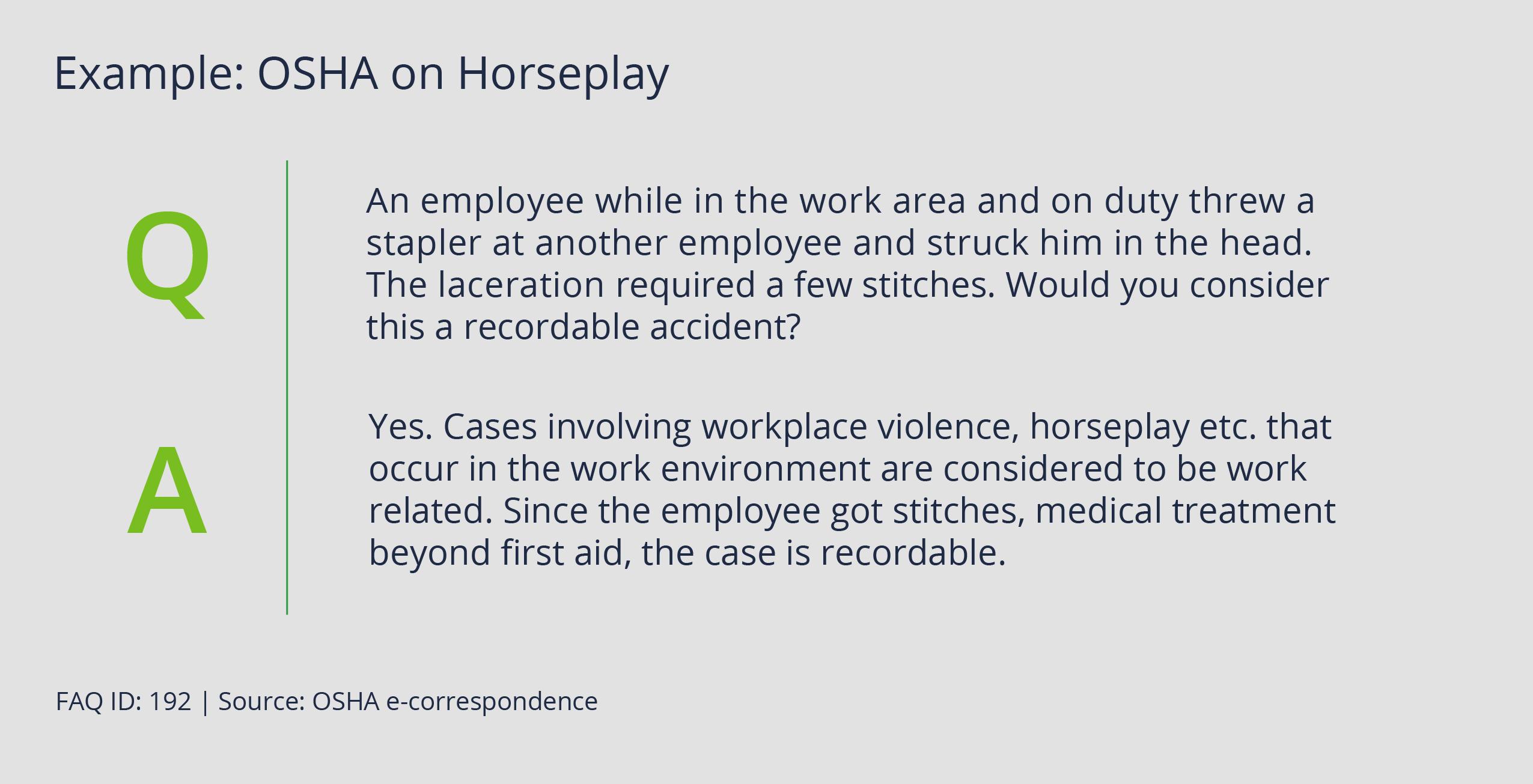 OSHA on Horseplay