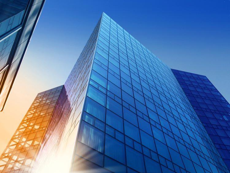building sunset blue