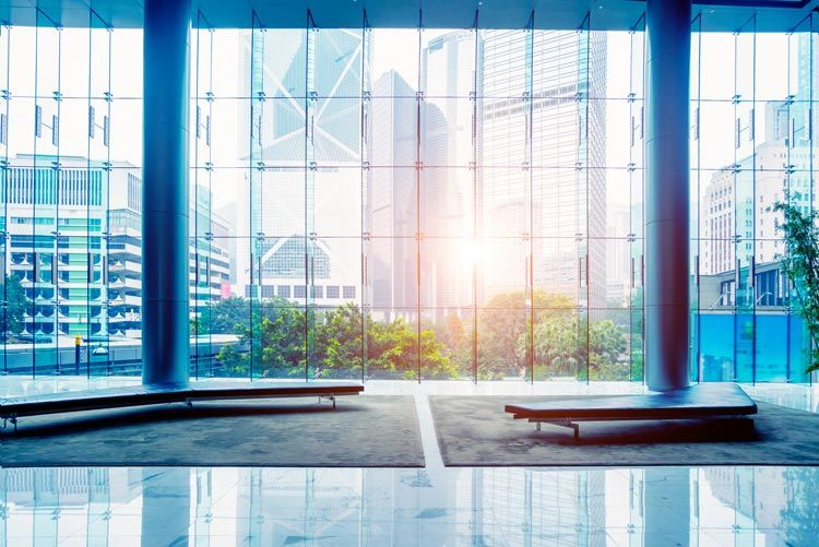 interior lobby building glass wall city