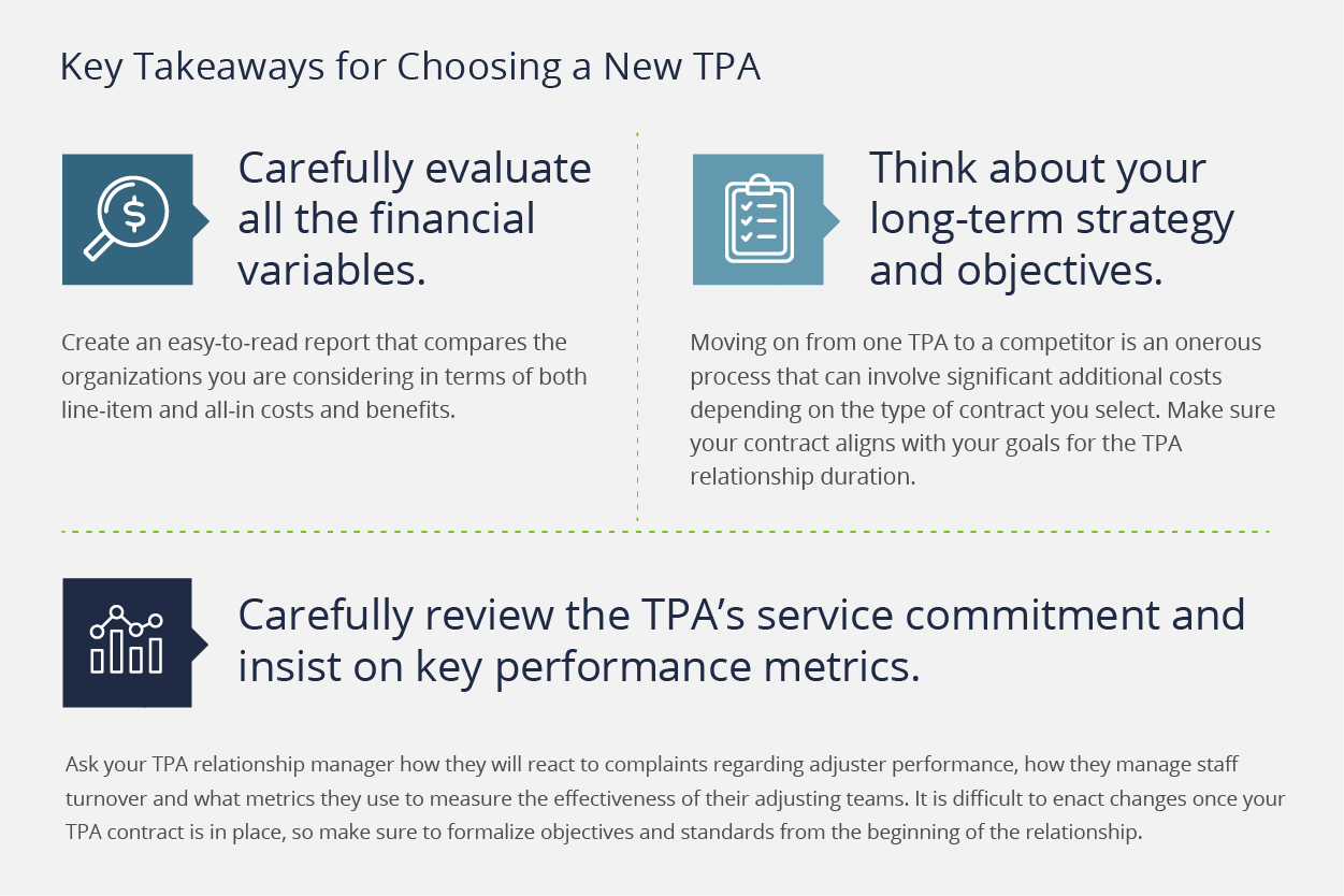 Key Takeaways for Selecting a New TPA: carefully evaluate all financial variables, think long-term strategy, review TPA's service commitment.