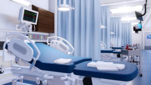 Patient bed and medical equipment in hospital