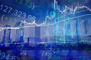 Stock market activity overlay on cityscape